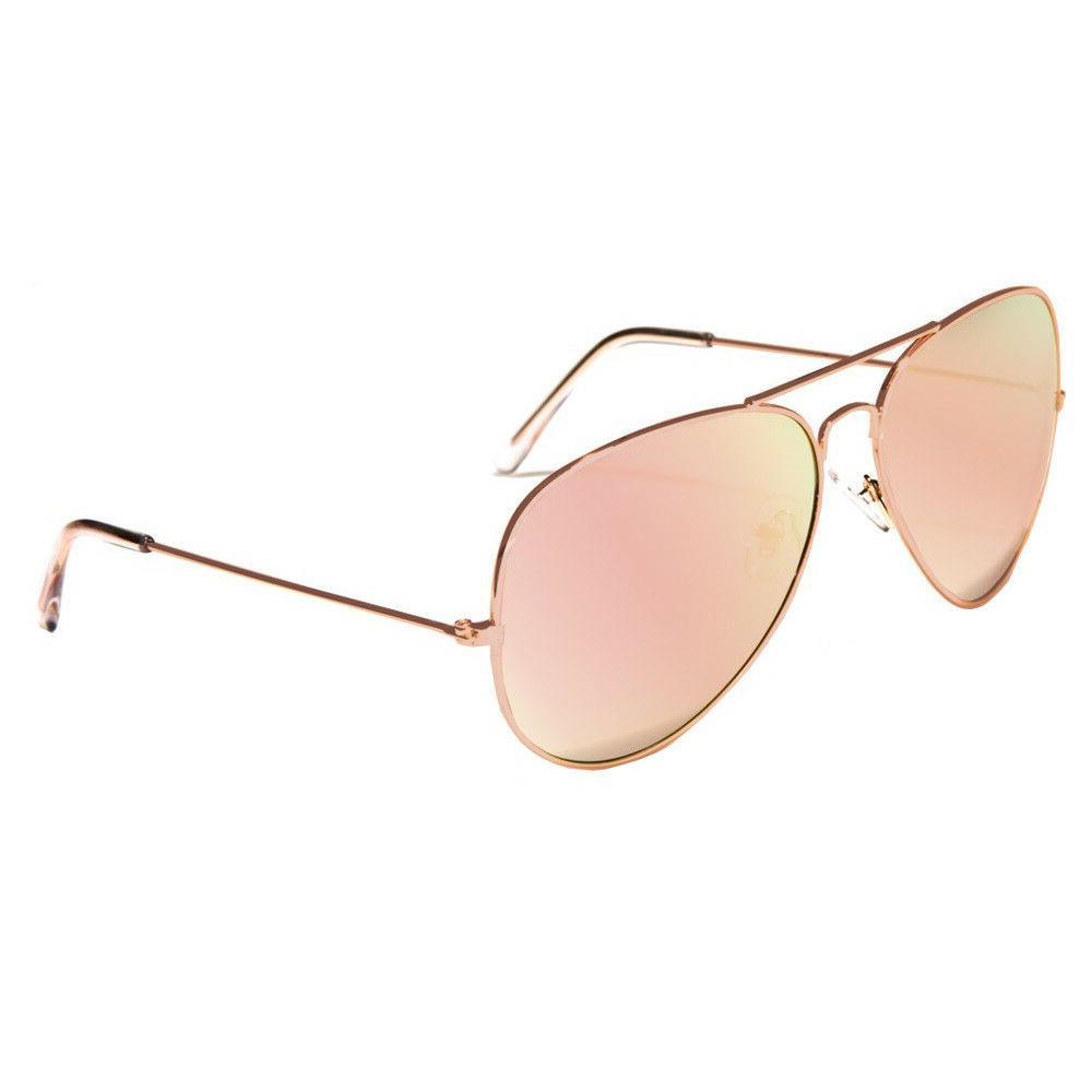 XL Oversized Rose Gold Women Sunglasses Aviator Metal Glasse