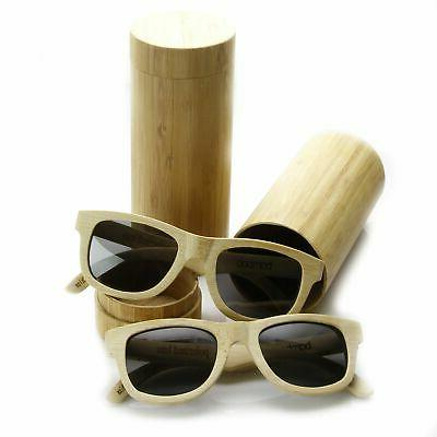 zeroUV - Polarized Genuine Bamboo Wood Horn Rimmed Sunglasse