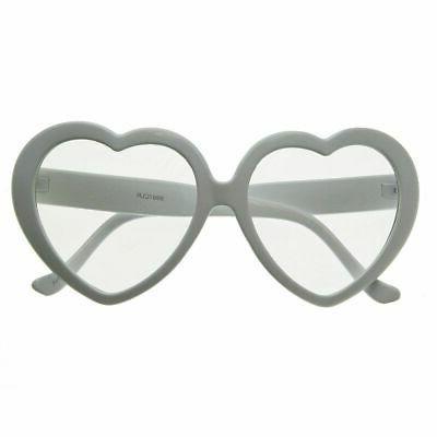 zeroUV - Womens Oversized Heart Shaped Clear Lens Sunglasses