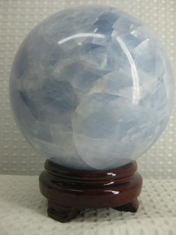 """Large Blue Calcite Sphere; WOW!!! 5.11Lbs. 4.6""""Heavenly Shad"""