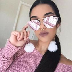 Large Oversized Cat Eye Sunglasses Flat Mirrored Lens Metal