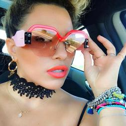 Large Oversized Semi Rimless Sunglasses For Women Trendy Can