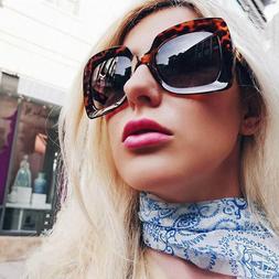 Large Oversized Square Sunglasses Gradient Lens Thick Retro