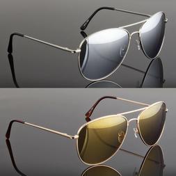 Large Aviator Sunglasses Silver Mirror Lens Men's Women's Vi