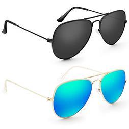 Livhò G 2 Pack of Sunglasses for Men Women Aviator Polarize