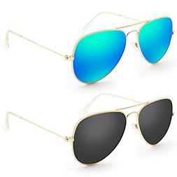 Livhò Sunglasses for Men Women Aviator Polarized Metal Mirr
