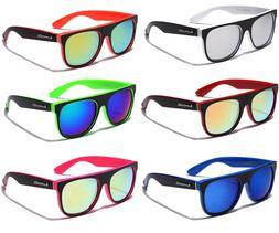 LOT OF 3 or 6 Men Women Flat Top Sport Color Mirror Sunglass