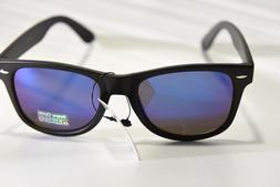 RETRO OPTIX MATTE BLACK BLUE MIRROR LENS CLASSIC SUNGLASSES