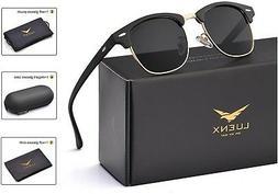 LUENX Men Clubmaster Polarized Sunglasses Women UV 400 Prote
