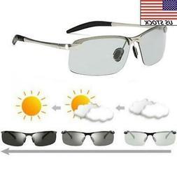Men Polarized Photochromic Sunglasses Mirrored UV400 Driving