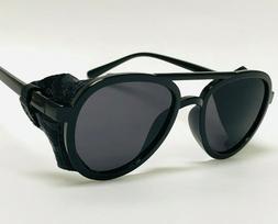 Men's Women Sunglasses Vintage Steampunk Side Shields Leathe