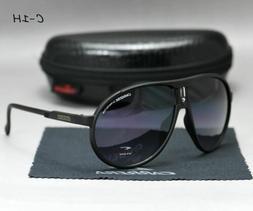 Men Women Retro Sunglasses Unisex Square Matte Black Frame C