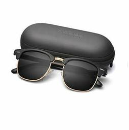 LUENX Men Women Semi Rimless Polarized Sunglasses:UV 400 Pro