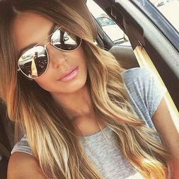 Men Women Vintage Retro Aviator Sunglasses Silver Mirrored L