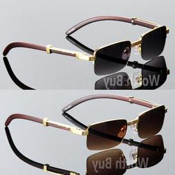 Men Women Vintage Retro Designer Sunglasses Wood Gold Half R