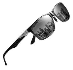 DUCO Mens Carbon Fiber Temples with Rectangular Polarized Me