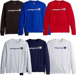 Champion Mens Classic Script Logo Long Sleeve T Shirt---Bran