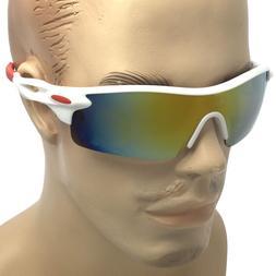 Mens Mirrored Lens Cycling Fishing Baseball Sport Wrap Sungl