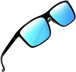Mens Polarized Sunglasses, Classic Rectangular Vintage, Blue