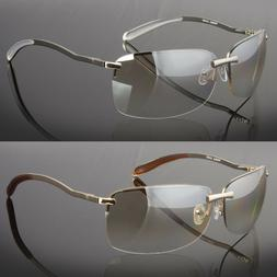 Men Rectangular Rimless Designer Sunglasses Shades Eyewear S