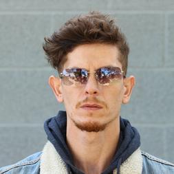 Mens Rimless Rectangular Minimal Metal Rim Fashion Sunglasse