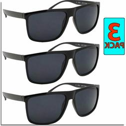 Mens Sunglasses Flat Top All Black Style 3 PACK Sunglass Dea