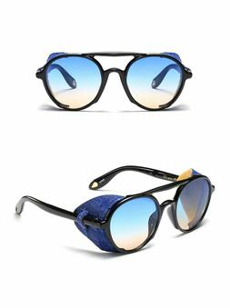 Mens Sunglasses Steampunk Side Shields Summer Style Leather
