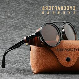 Mens Womens Sunglasses Vintage Steampunk Side Shields Leathe