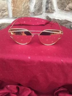 SOJOS Metal Aviator Fashion Sunglasses Gold Pink Lens