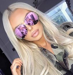 "MIRROR ""Posche"" OVERSIZED Women Sunglasses Aviator Flat Top"