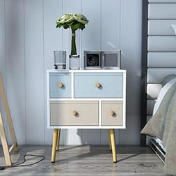 Lifewit Nightstand with 4 Fabric Drawers, Unique Modern Desi