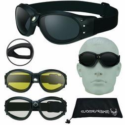 Motorcycle & Sky Diving Safety Goggles Adjustable Strap Ski