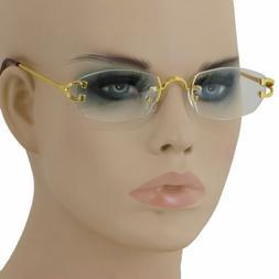 Narrow Tiny Oval Rectangle Rimless Clear Lens Sunglasses Hot