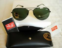 New Authentic Ray Ban AVIATOR RB3025 L2823 58mm Black Frame/