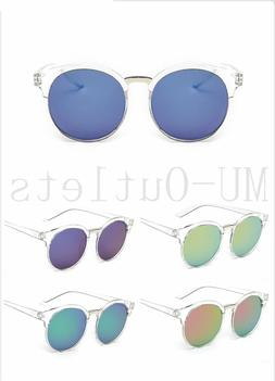 New Clear Frame Sunglasses Round Large Retro Vintage Mirrore