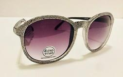 NEW DEB & DAVE Silver Glitter Sunglasses Purple Gradient Len