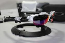 New Oakley Flak Jacket 1.0 White Text w/+Red Iridium Asian F
