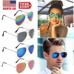 New Men Women UV 400 Mirrored Sunglasses Aviator Mirrored Gl