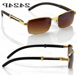 New Mens Women Retro Fashion Sunglasses Shades Wood Gold Fra