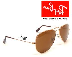 NEW Ray-Ban Aviator RB3025 001/33 GOLD Frame BROWN CLASSIC B