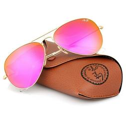 New Ray Ban Aviator RB3025 112/4T Matte Gold frame/Cyclamen