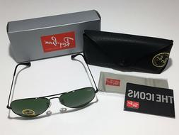 NEW Ray-Ban Aviator RB3025 58mm Gunmetal G-15 Green Lens Pil