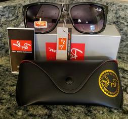 NEW Ray-Ban Black Justin Sunglasses with Grey Gradient Lense