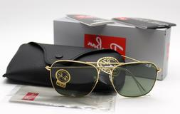 New Ray-Ban RB3136 001 Gold/Green Classic G-15 Caravan Sungl