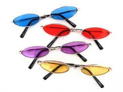 Oval Shape Sunglasses Retro Vintage Metal Frame Colorful Len