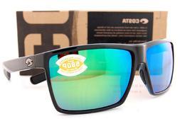 New Costa Del Mar Sunglasses RINCON Shiny Black Green Mirror