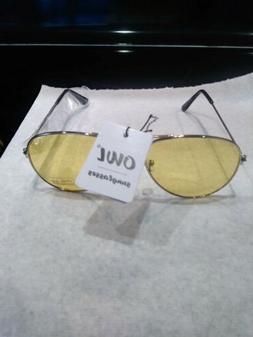 NEW OWL Sunglasses Women's Aviator metal Frame Yellow Lens