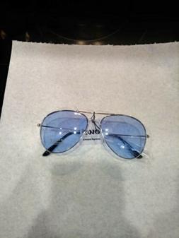 NEW OWL Sunglasses Women's Aviator Metal Frame with Blue L