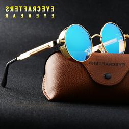 New Vintage Polarized Steampunk Sunglasses Fashion Round Mir