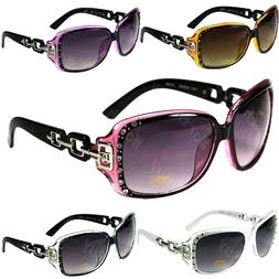 New DG Eyewear Womens Rhinestones Square Wrap Sunglasses Des